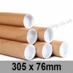 Cardboard Postal Tubes 305 x 76mm - Pack of 12
