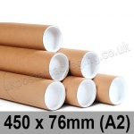 Cardboard Postal Tubes 450 x 76mm - Pack of 12