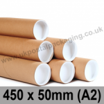 Cardboard Postal Tubes 450 x 50mm (A2) - Pack of 25