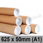 Cardboard Postal Tubes 625 x 50mm (A1) - Pack of 25