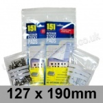 Write-on Grip Seal Bags, 127 x 190mm (approx 5 x 7.5 inch) - per 100 bags