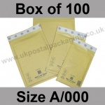 Mail Lite, Gold Bubble Lined Padded Bags, Size A/000 - Box of 100