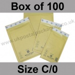 Mail Lite, Gold Bubble Lined Padded Bags, Size C/0 - Box of 100