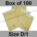 Mail Lite, Gold Bubble Lined Padded Bags, Size D/1 - Box of 100