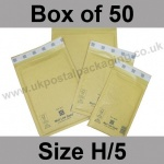 Mail Lite, Gold Bubble Lined Padded Bags, Size H/5 - Box of 50