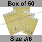 Mail Lite, Gold Bubble Lined Padded Bags, Size J/6 - Box of 50