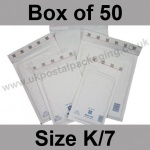 Mail Lite, White Bubble Lined Padded Bags, Size K/7 - Box of 50